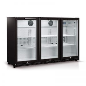 Husky Triple Glass Door Bar Fridge in Black