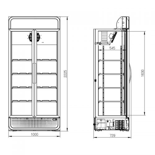 Husky Double Door Glass Door Commercial Refrigerator - Dimensions